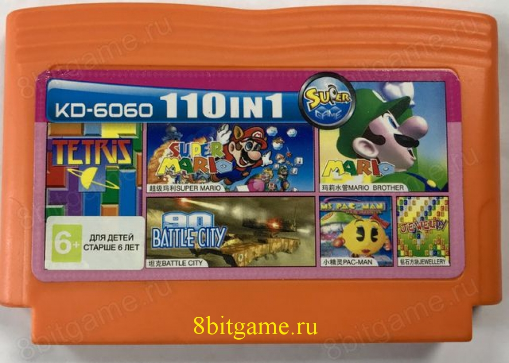 6в1 Картридж Dendy KD-6060(110in1)PAC-MAN+TETRIS+ EWELLERY+TANK+PAC-MAN+MARIO BROTHER