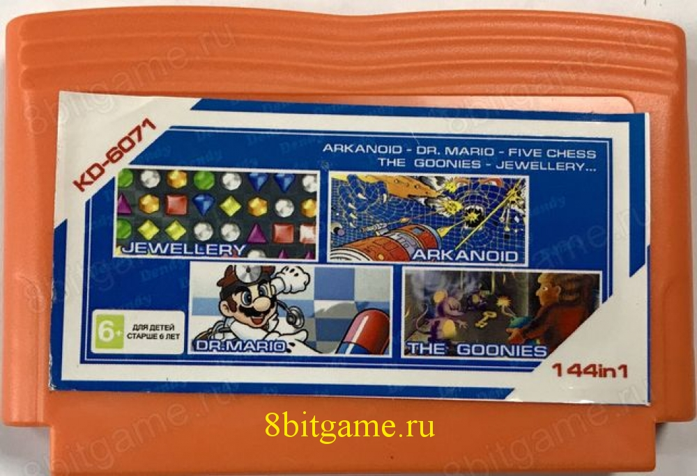 5в1 Картридж Dendy KD-6071(144in1) ARCANOID+DR.MARIO+FIVE CHESS+THE GOONIES+JEWELLERY